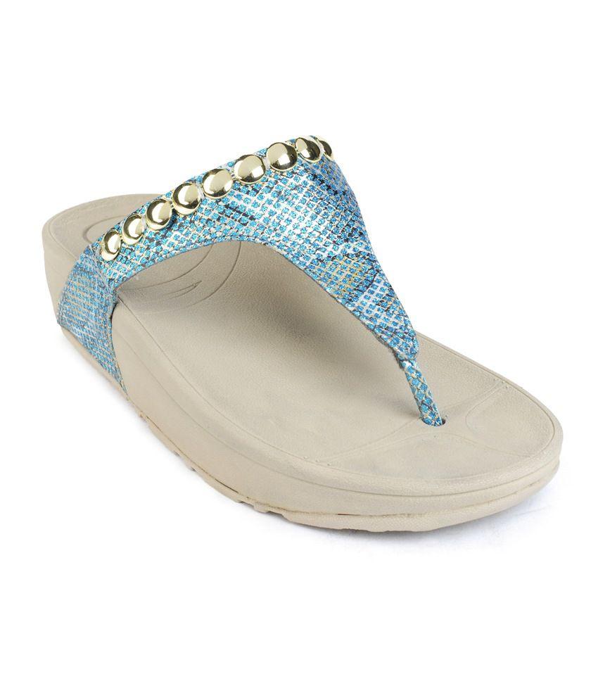 Flori Blue Flat Slip-Ons