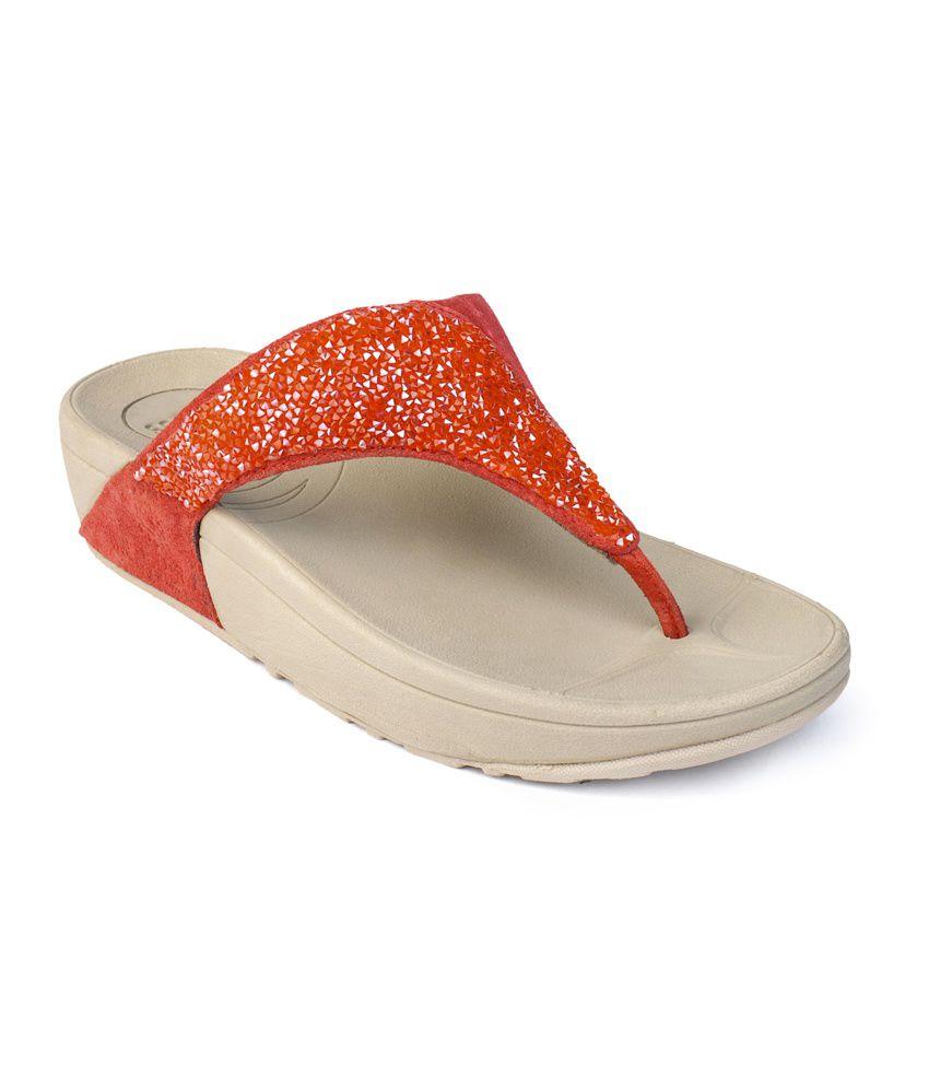 Flori Orange Flat Slip-Ons