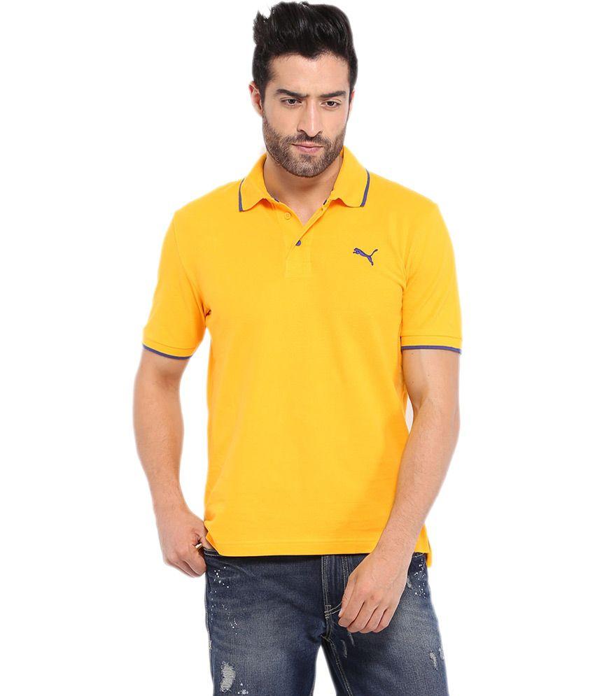 Puma Yellow Half Sleeve Basics Cotton T-shirt For Men