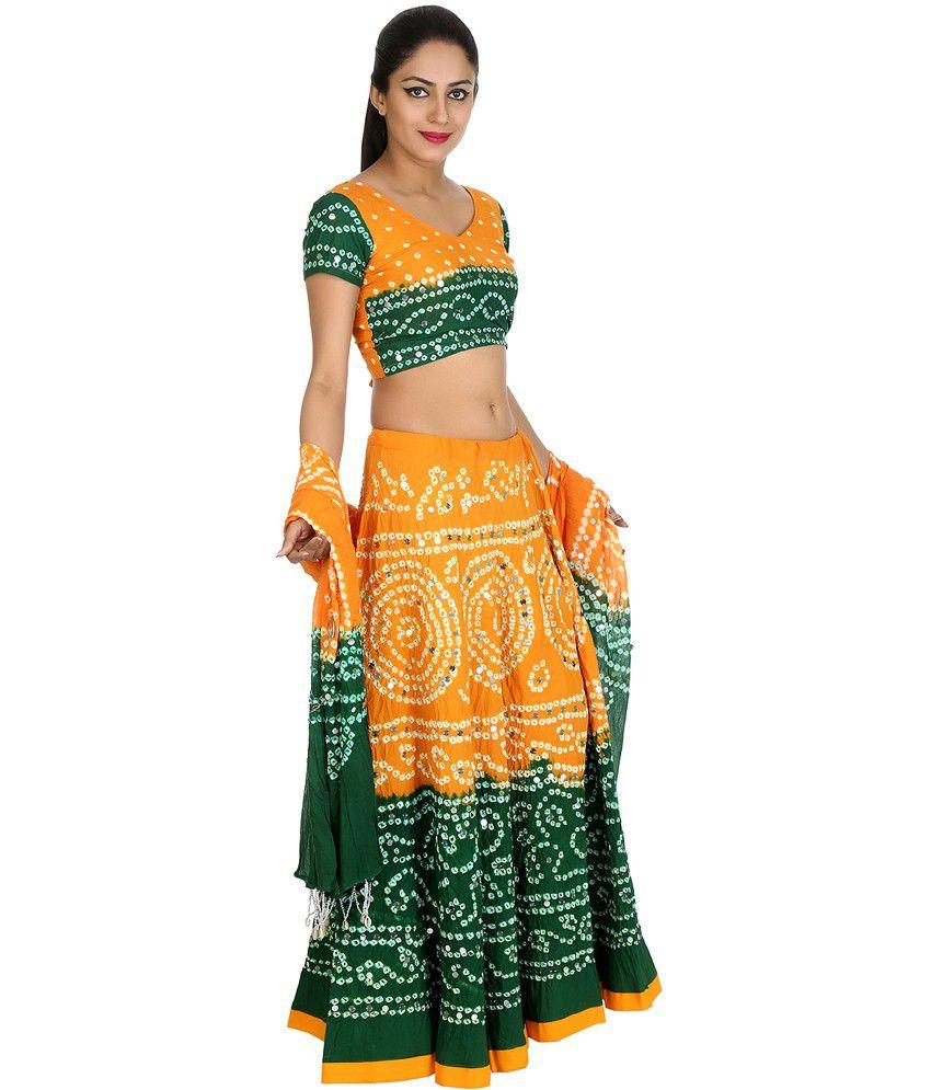 408d600b86 Rajrang Green and Yellow Bandhej Cotton Semi Stitched Lehenga Choli - Buy  Rajrang Green and Yellow Bandhej Cotton Semi Stitched Lehenga Choli Online  at Best ...