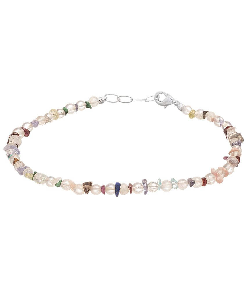 Voylla Fine Silver Finished Coloured Bead Single Anklet