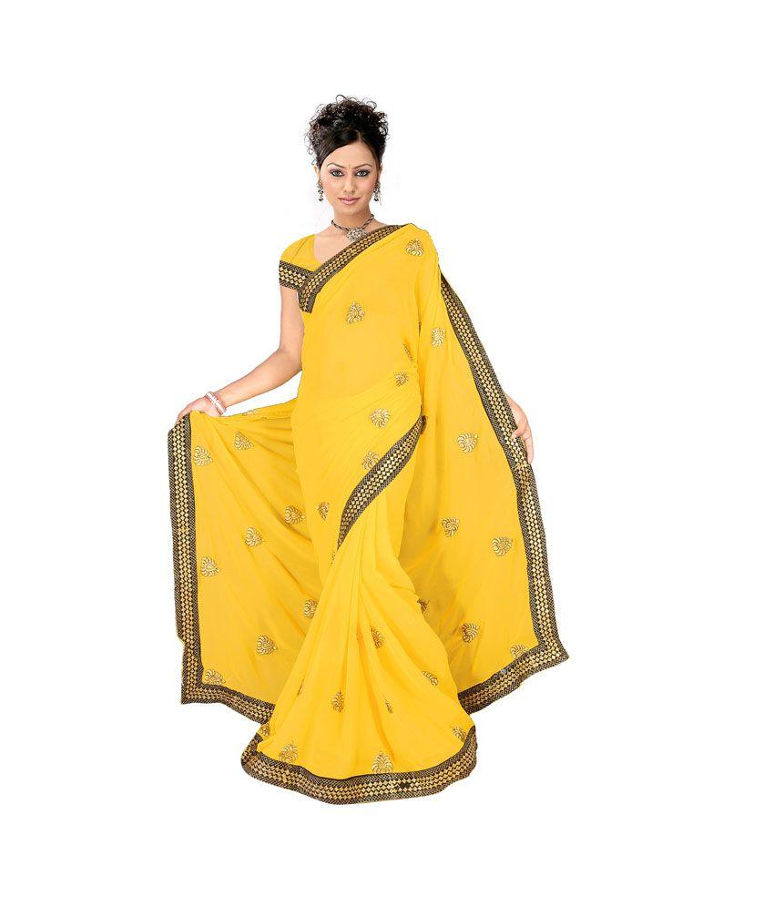 Anshika Lifestyle Yellow Faux Chiffon Saree - Buy Anshika ...