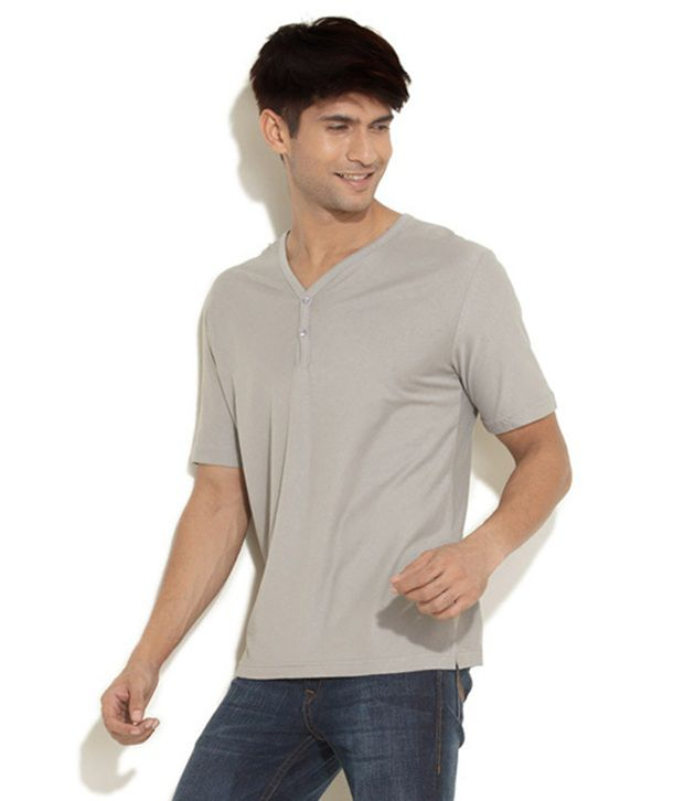 Freecultr Light Grey Cotton Half Sleeve Henley