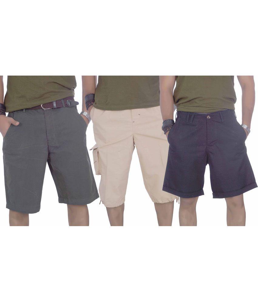S A True Fashion Multicolour Cotton Solids Men Short And Three Forth Combo Of 3
