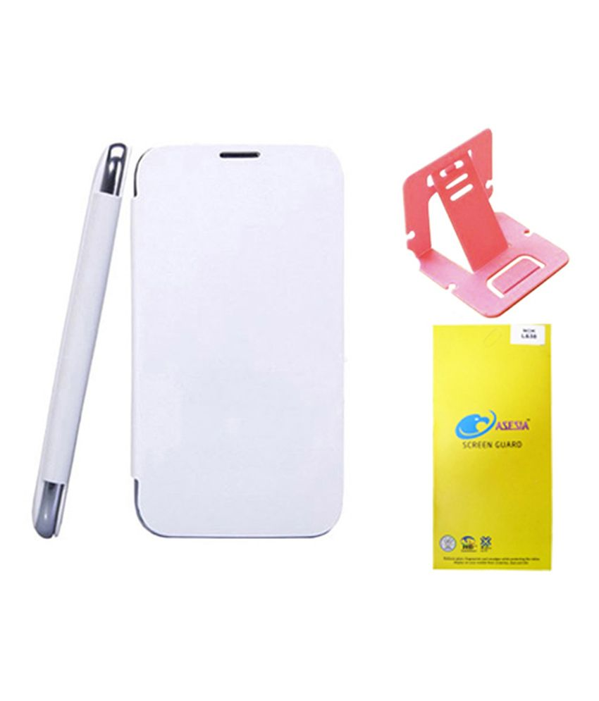 Casesia Flip Cover For Sony Xperia Z3 - White + Screen Guard