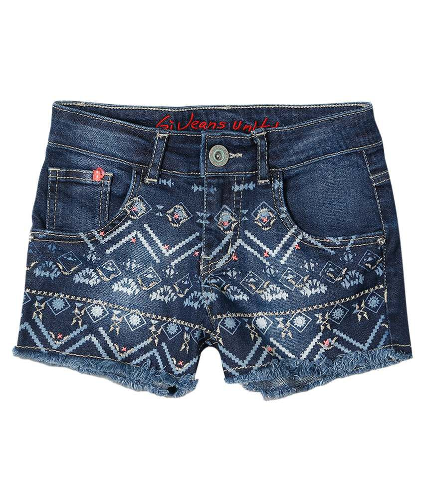 Gini & Jony Blue Blended Shorts