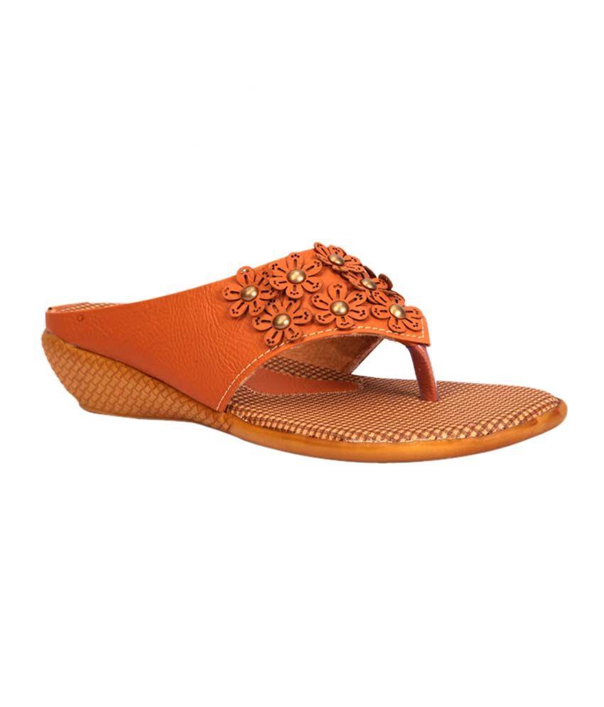 Trilokani Beige Flat Slippers For Women