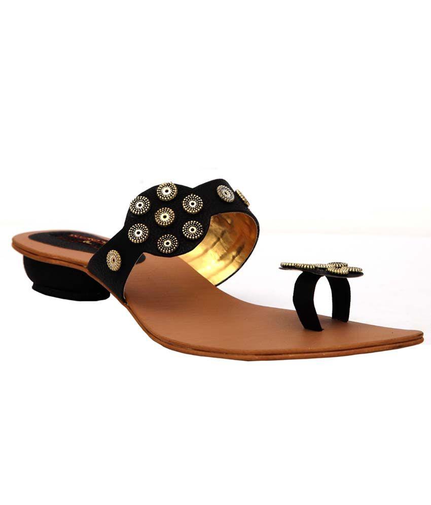 Trilokani Black Synthetic Fancy Women's Slipper