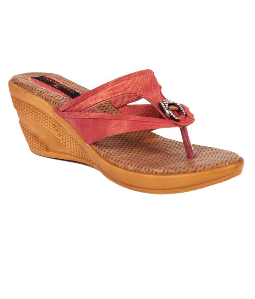 Trilokani Orange Synthetic Comfertable Women's Slipper