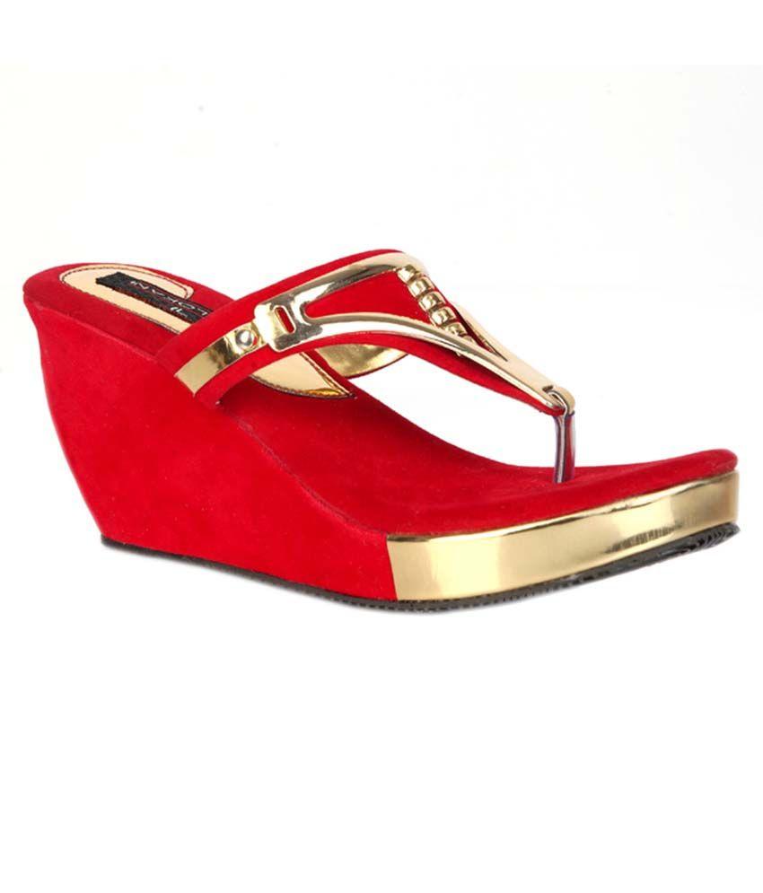 Trilokani Red Synthetic Fancy Women's Slipper