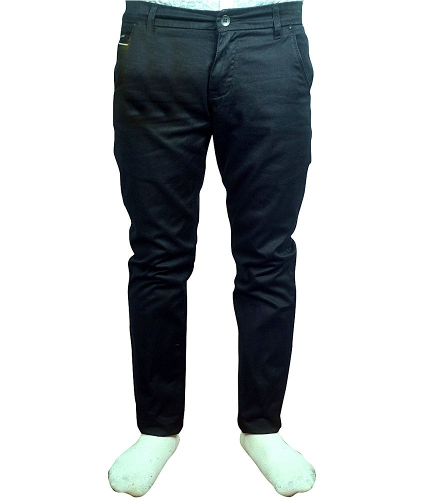 W.stallion Black Cotton Blend Regular Fit Jeans