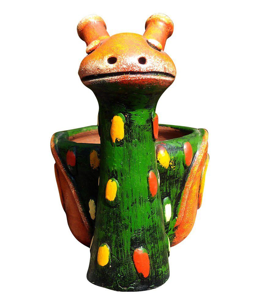 Amit Patil Multicolour Clay Handmade Decorative Snail Pot Showpiece