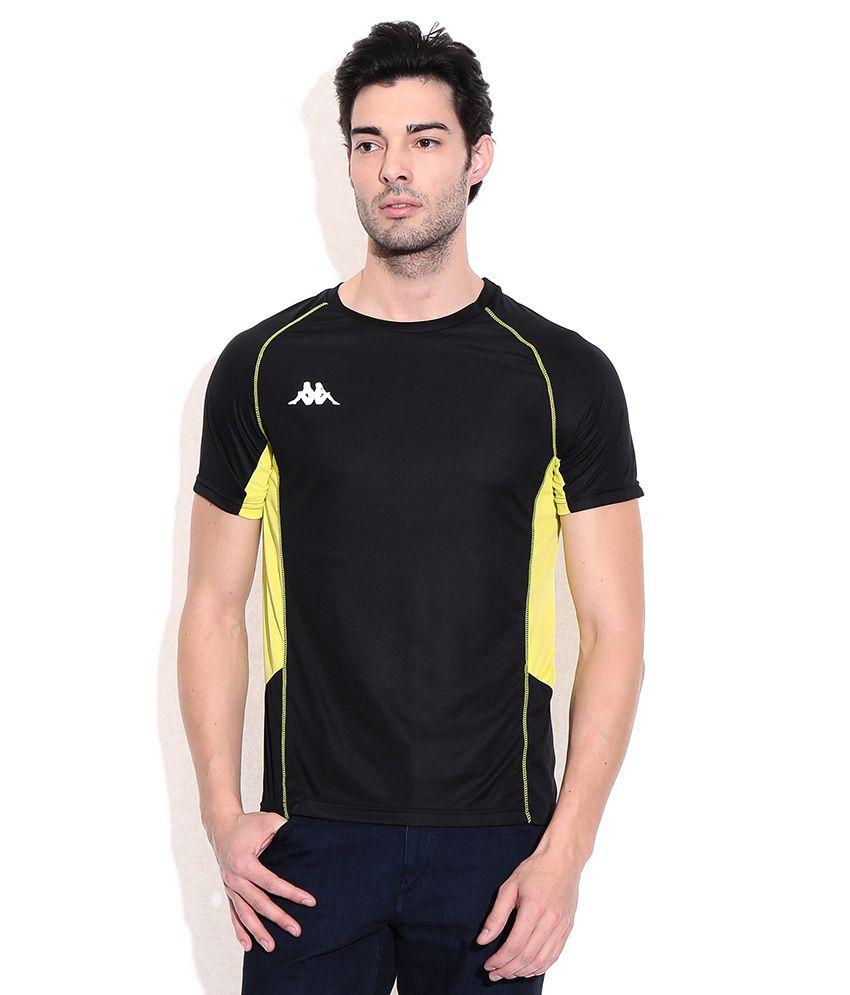 Kappa Black Polyester Round Neck T-shirts
