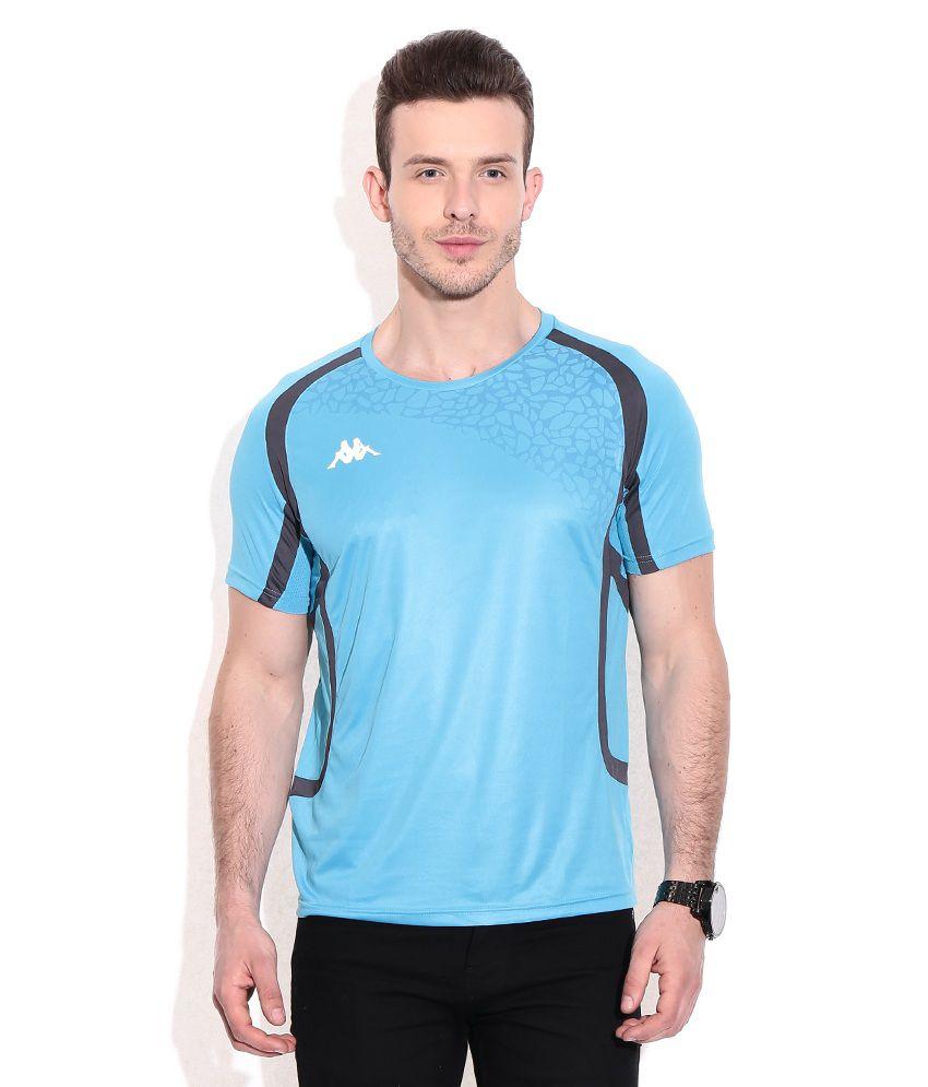 Kappa Blue Polyester Round Neck T-shirts
