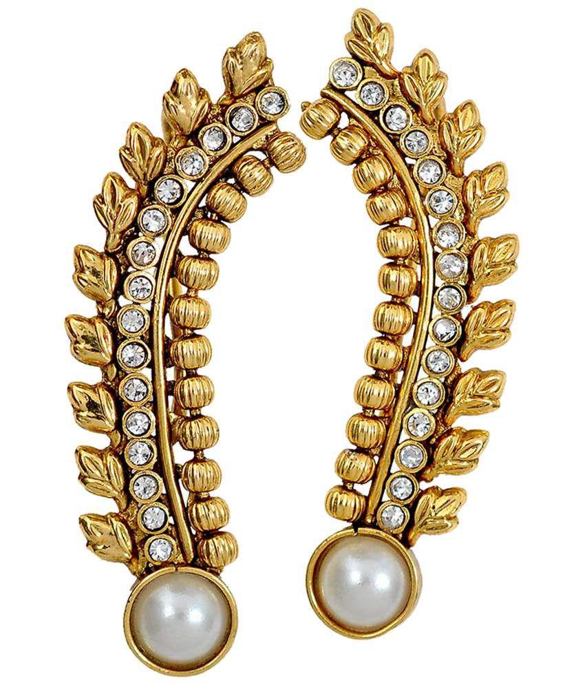 Maayra Sizzling White Designer Ear Cuffs