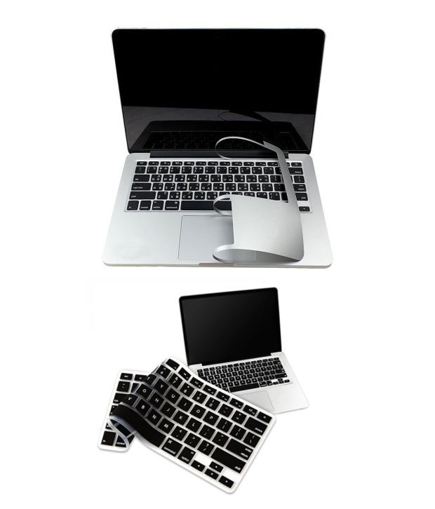PINDIA Apple Macbook Pro 13 13.3 Inch Mc375Hn/A & Mc375LL/A Full Palm Guard Combo Black Keyboard Cover