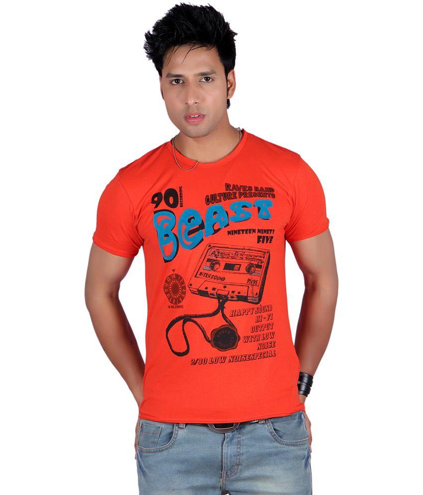 Raves Orange Cotton Half Sleeves Printed T-Shirt