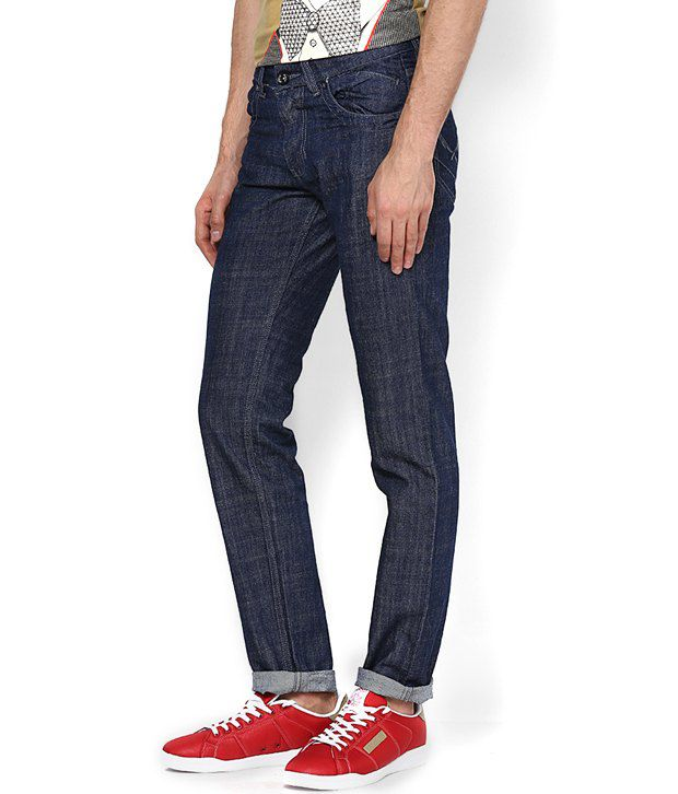 Zeco Blue Cotton Slim Fit Faded Jeans