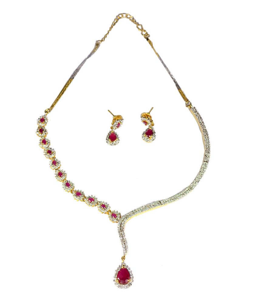 Colors of Sin Red ruby drop CZ Necklace