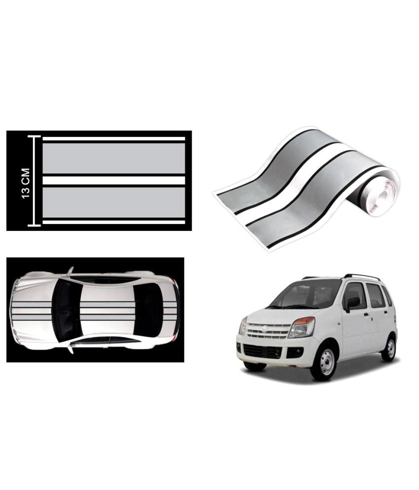 Speedwav car racing stripe graphic sticker silver and black for maruti wagon r buy speedwav car racing stripe graphic sticker silver and black for maruti
