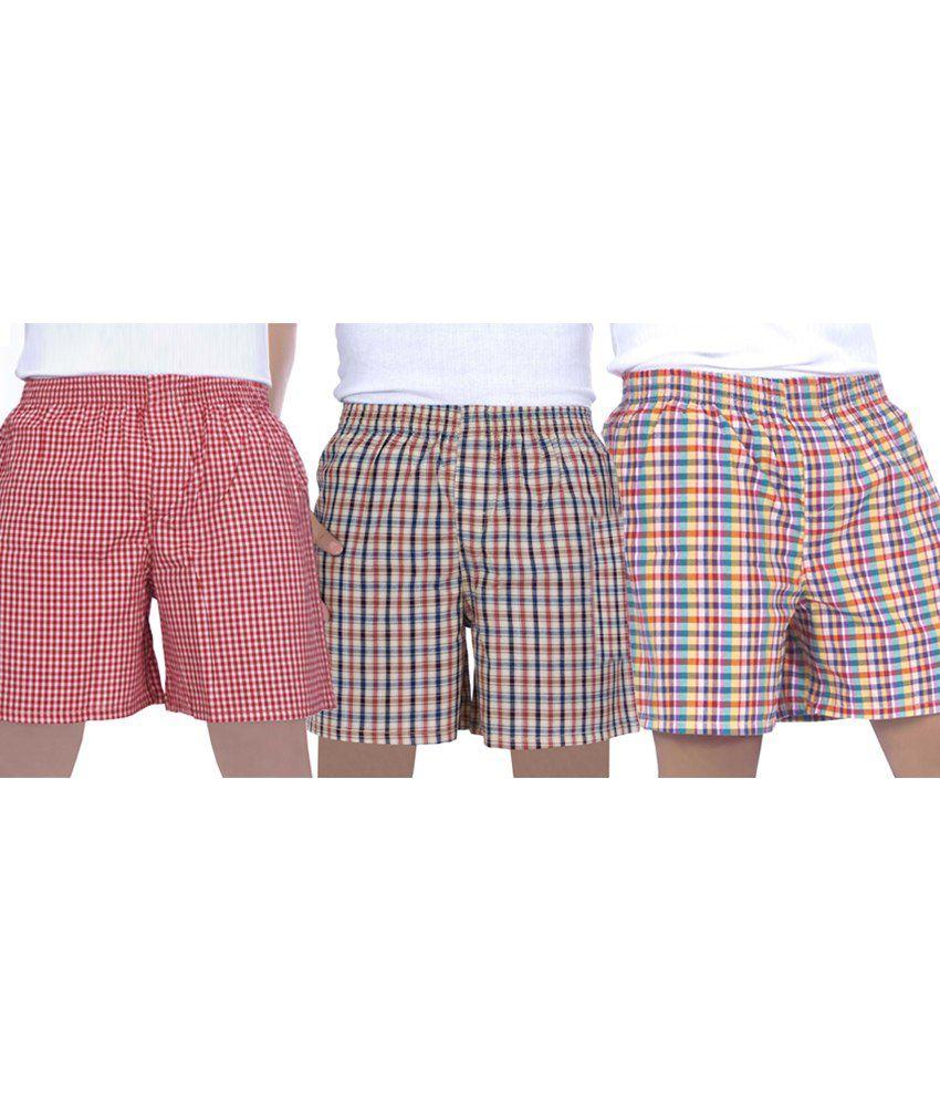True Fashion Multi Colour Cotton Checks Boxer Shorts - Set Of 3