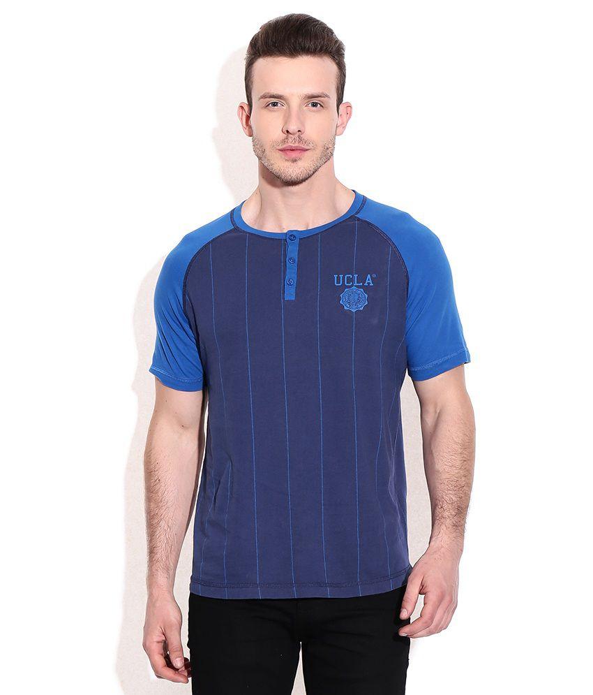 Ucla Navy Cotton Henley T-shirt