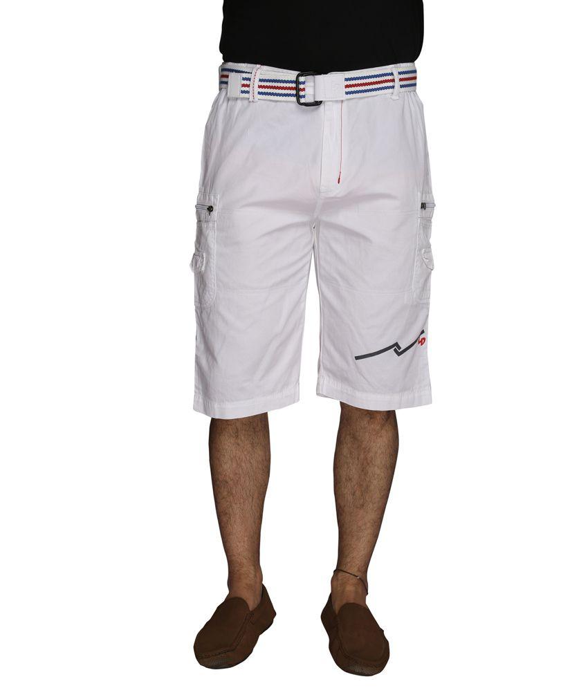 LD Active White Cotton Men's Shorts