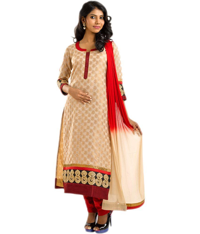Saffron Beige Banarasi Work Straight Fit Stitched Salwar Suit