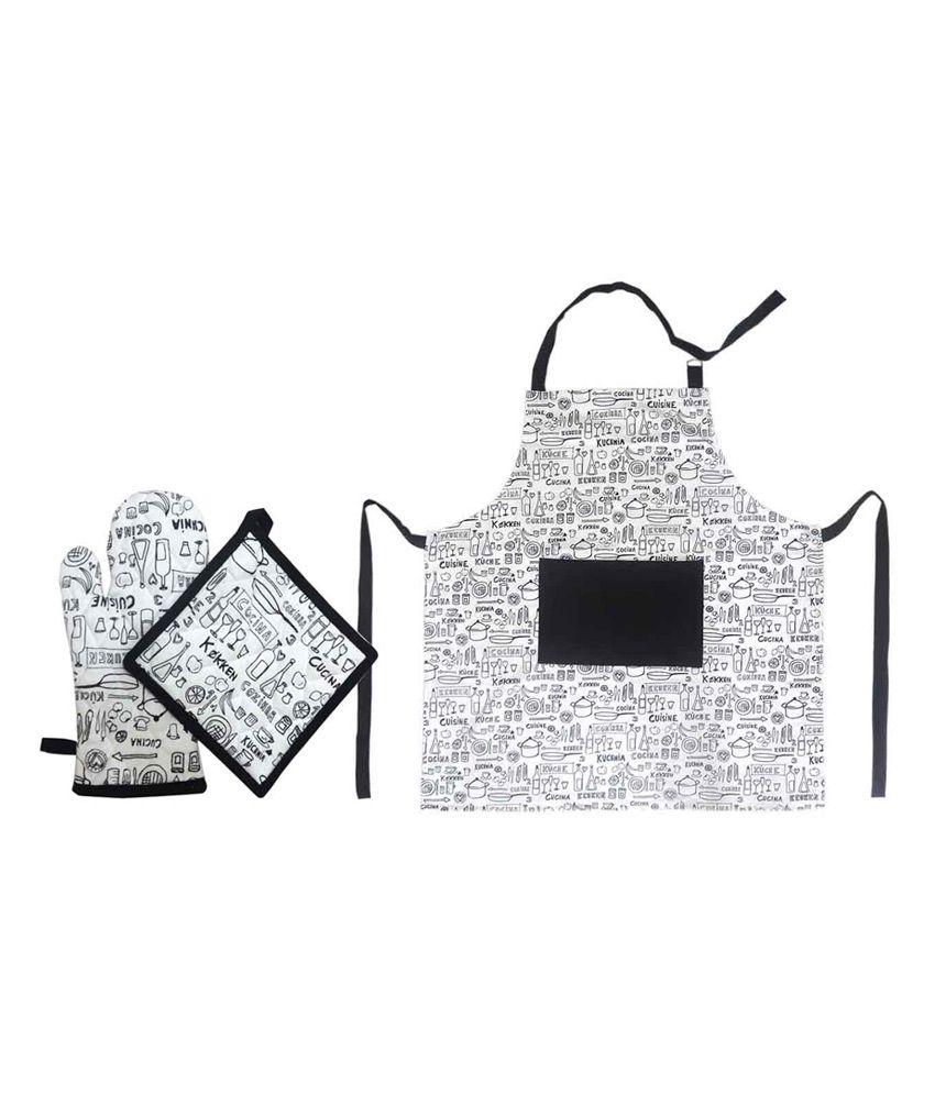 Kitchen Linen Set: Cotonex White Printed Kitchen Linen Set Of 3