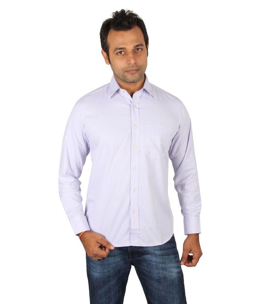 Donear Purple Cotton Full Sleeves Men Formal Shirt