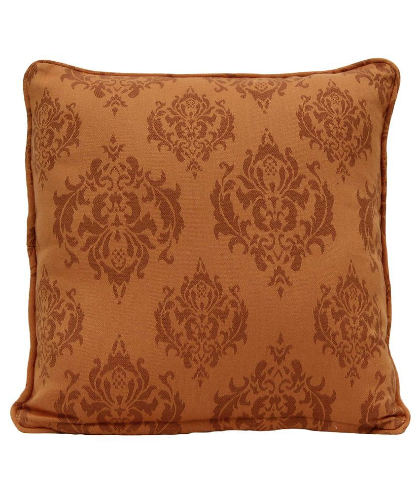 Elan Lovely Brown Damask Cushion Cover- 16x16 Inches