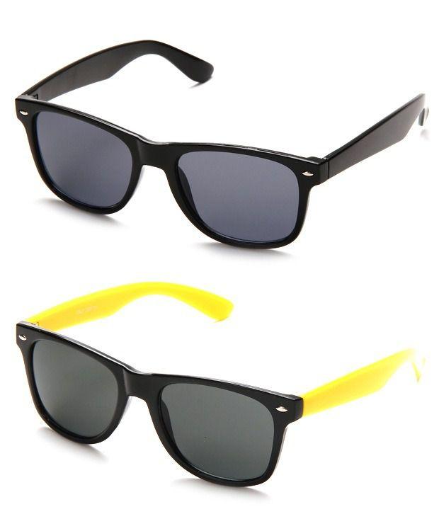 Hills Boro HS-122-123-YELLOWBLACK-WFR Yellow & Black/Mauve Wayfarer Sunglasses
