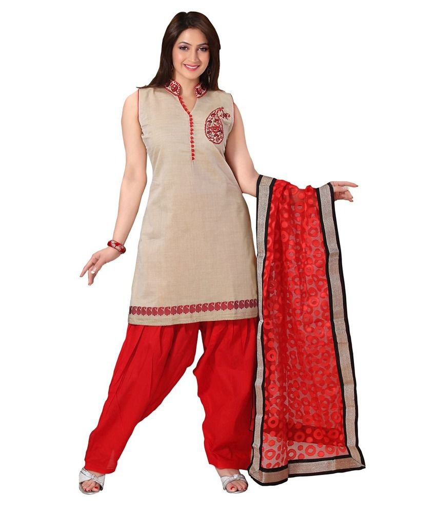Idha Cream Red Straight Fit Chanderi Floral Machine Embroidery Readymade Salwar Suits