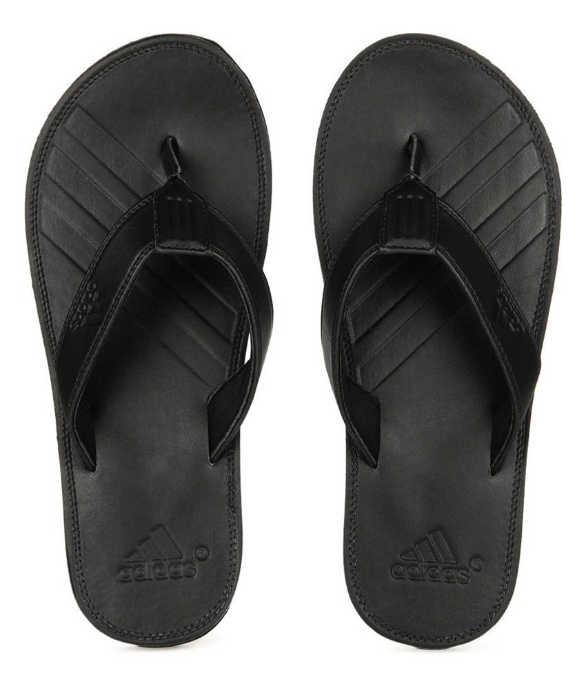96a8c730ecec Adidas Black Leather Smart Slippers For Men Price in India- Buy ...
