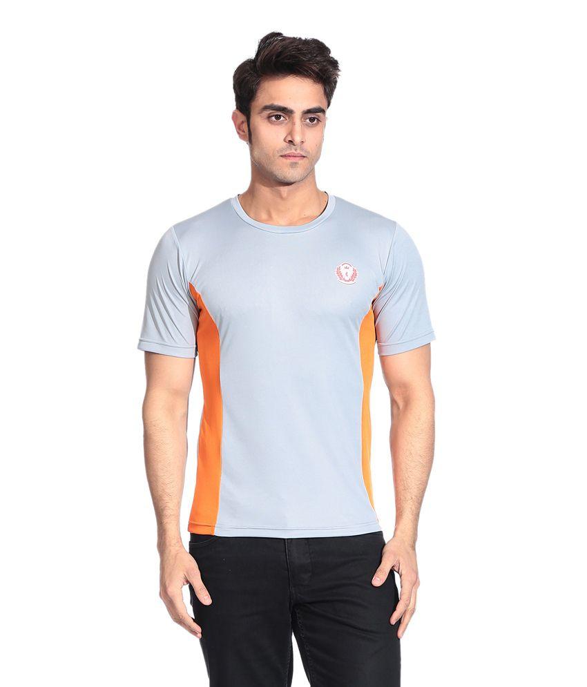 D Vogue London Grey And Orange Dry Fit T Shirt
