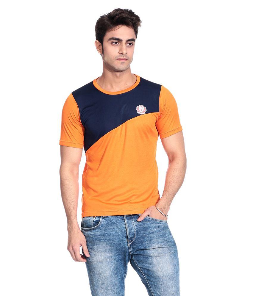D Vogue London Orange And Black Dry Fit T Shirt