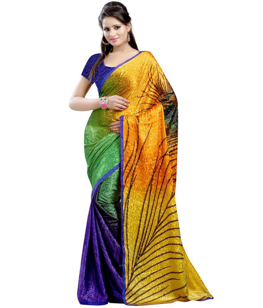 Fashiondeal Yellow Silk Saree