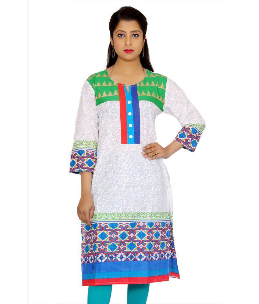 Aakashi Green Cotton Knitted Round Neck Kurti