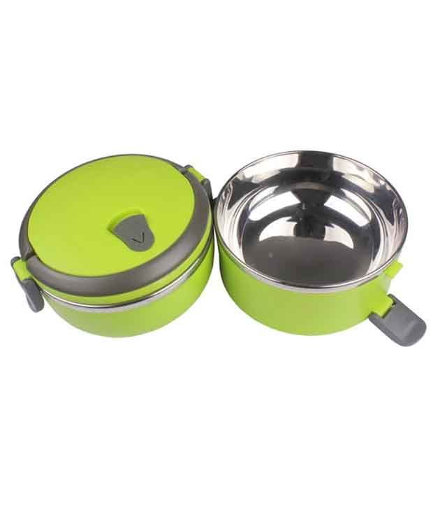 Blossoms 2 Layer Stainless Steel Lunch Box - Green