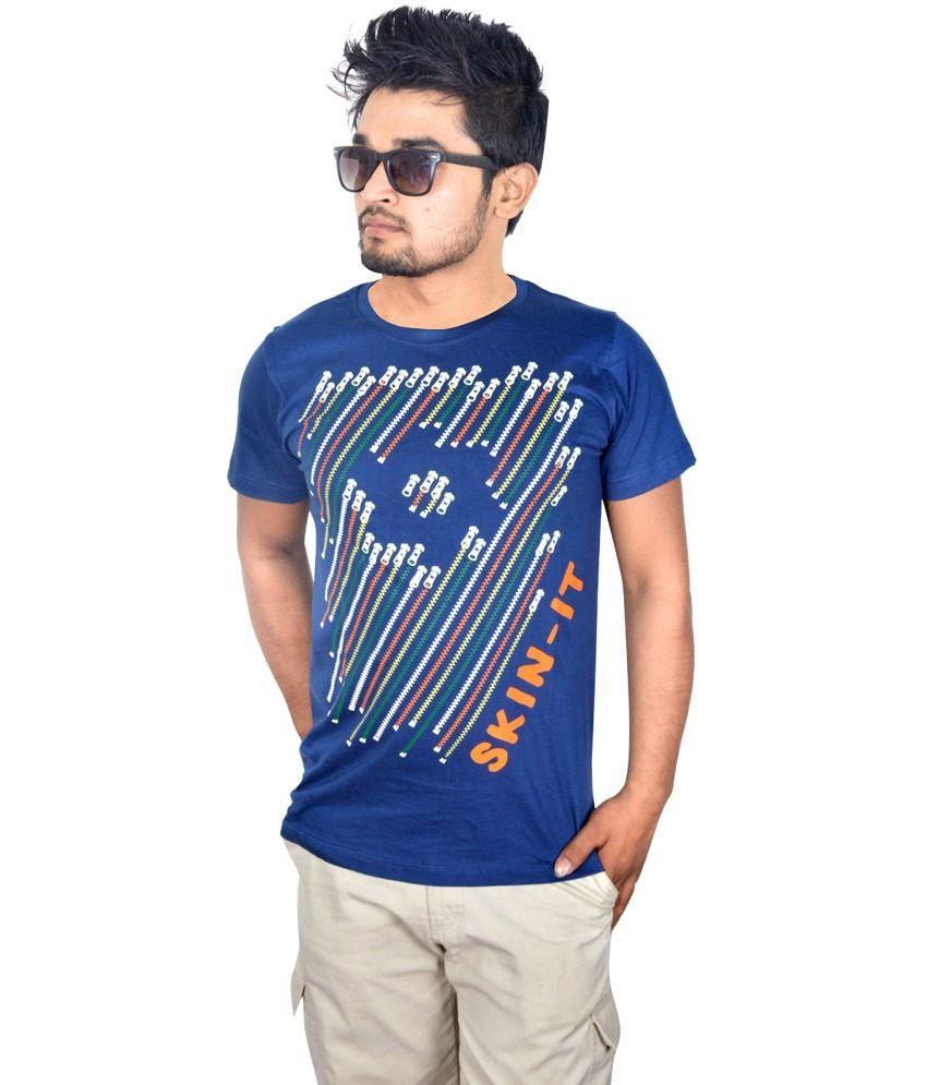 Drakeman blue cotton round neck half sleeve t shirt for for Half sleeve t shirts for men