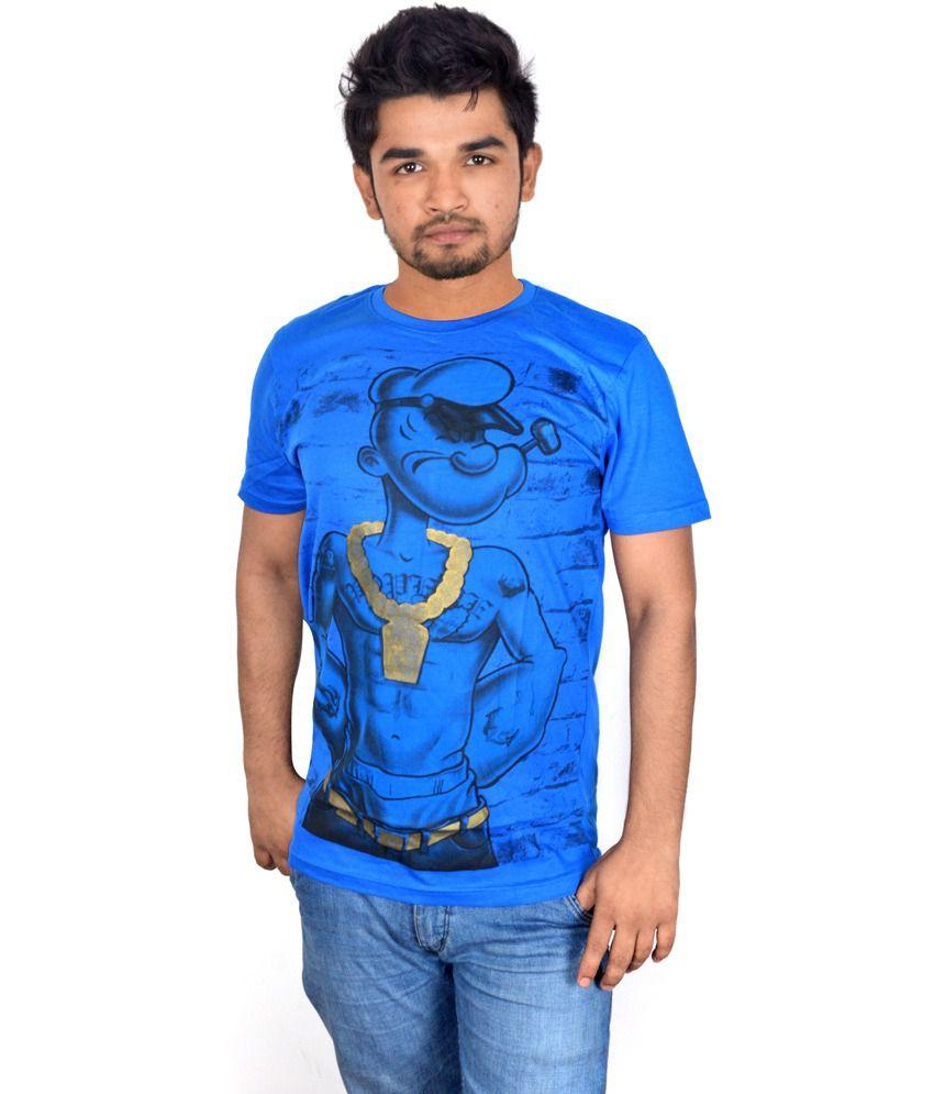Drakeman Blue Cotton Round Neck Half Sleeve T-shirt For Men