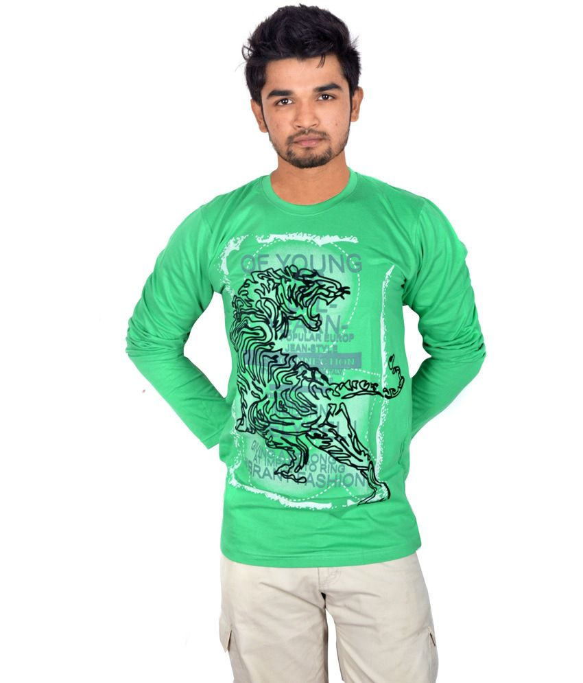 Drakeman green cotton round neck full sleeve t shirt for for Full sleeves t shirts for men