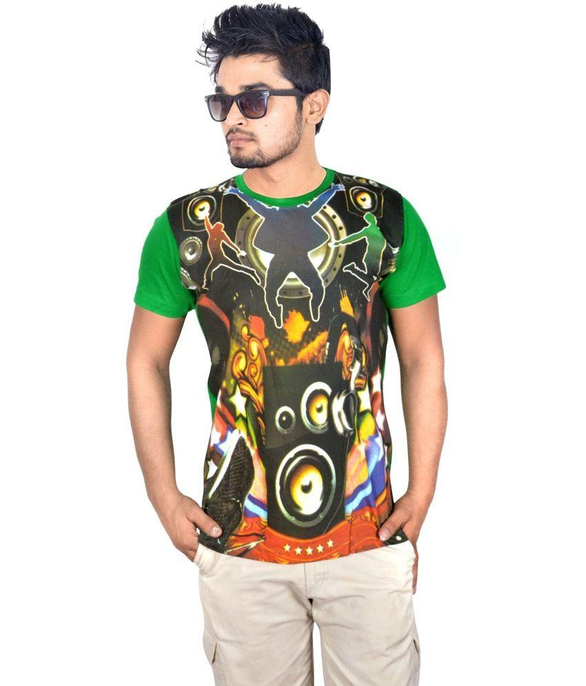 Drakeman Green Cotton Round Neck Half Sleeve T-shirt For Men