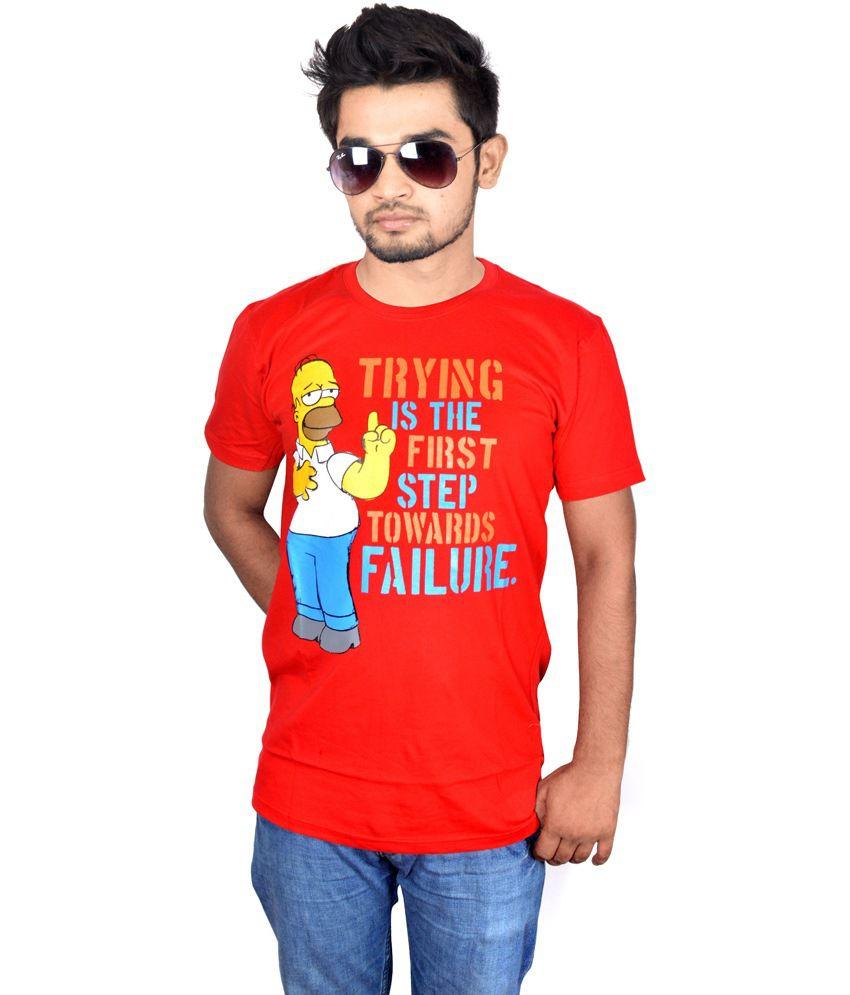 Drakeman Red Cotton Round Neck Half Sleeve T-shirt For Men