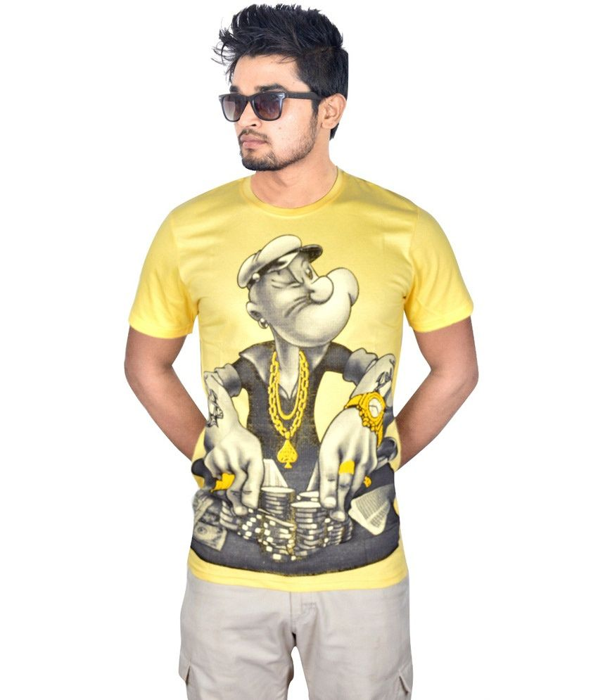 Drakeman Yellow Cotton Round Neck Half Sleeve T-shirt For Men