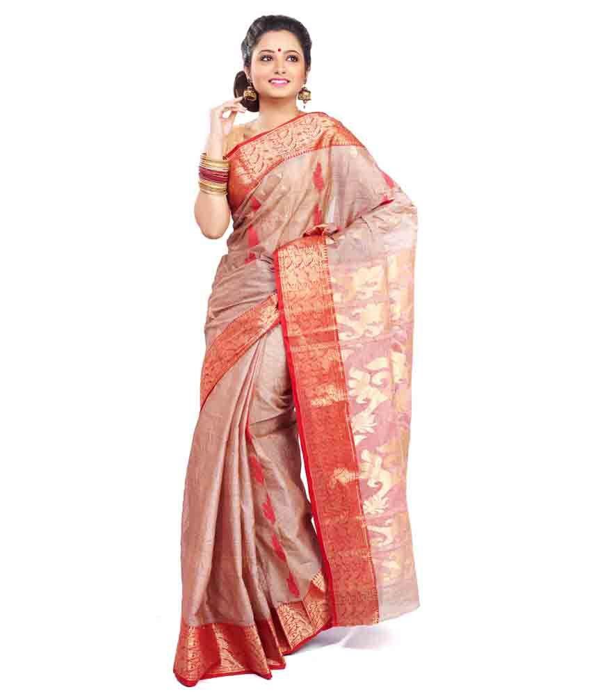 INDIAN SAREE MANDIR Turquoise Cotton Bengal Tant Saree