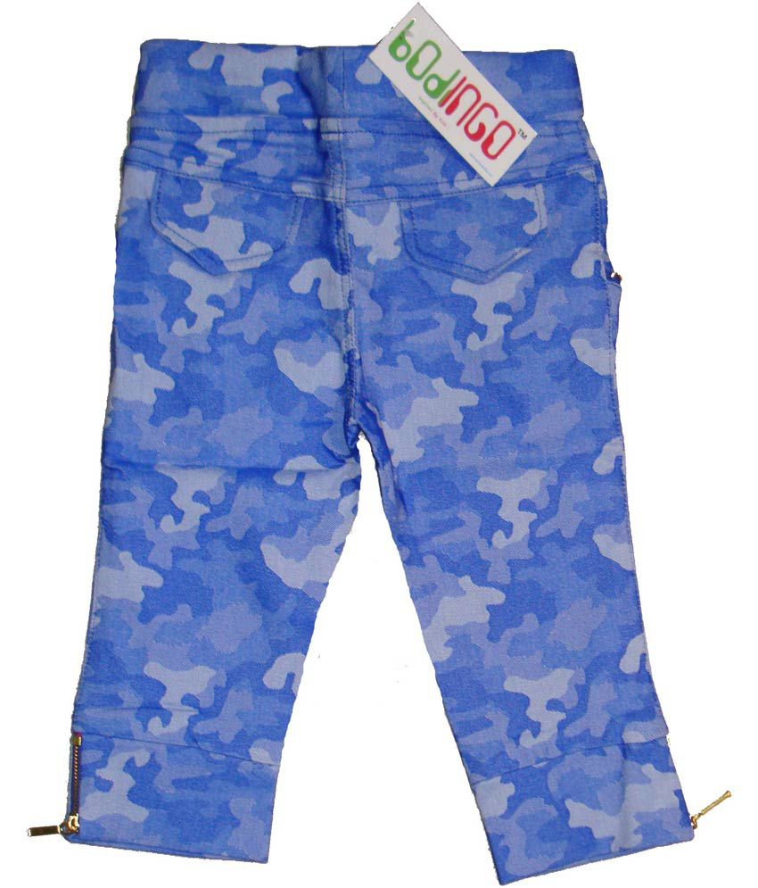 Bodingo Blue Synthetic Elastic Patch Work Capri