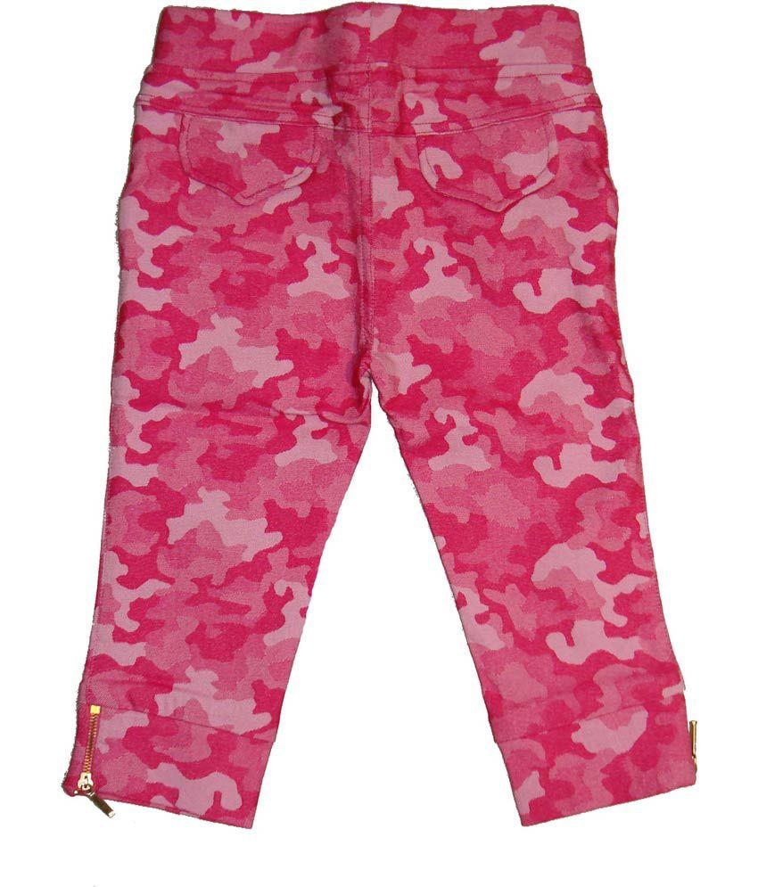 Bodingo Pink Synthetic Elastic Patch Work Capri