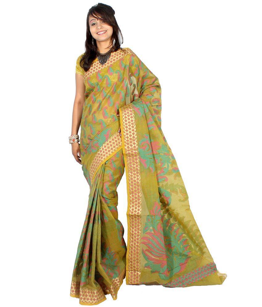 Bunkar Green Silk Saree