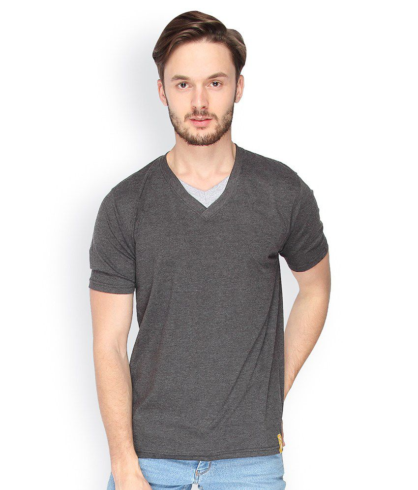 Campus Sutra Charcoal Double V Neck Tshirt